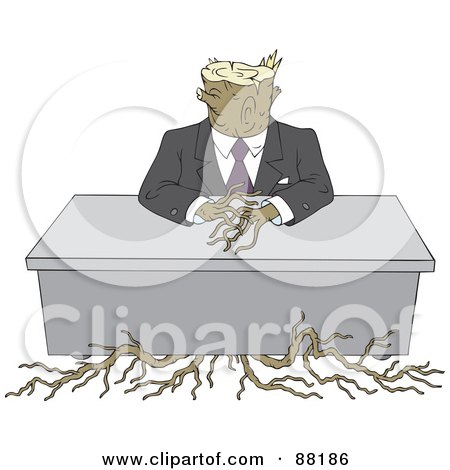 Royalty-Free (RF) Clipart Illustration of a Tree Stump Businessman With Roots, Sitting At A Desk by Alex Bannykh