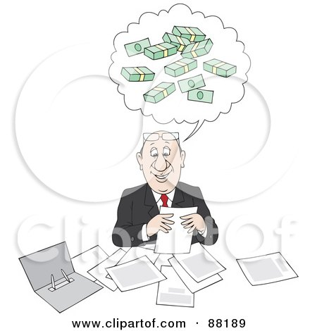Royalty-Free (RF) Clipart Illustration of a Happy Businessman Doing Paperwork And Thinking Of Bundled Money by Alex Bannykh