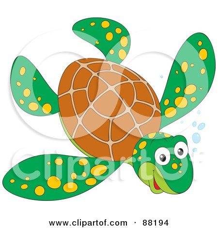 Royalty-Free (RF) Clipart Illustration of a Happy Brown And Green Sea Turtle With Yellow Spots And Bubbles by Alex Bannykh