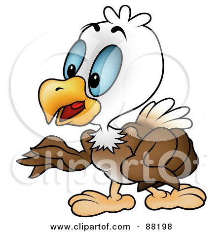 Royalty-Free (RF) Clipart Illustration of a Bald Eagle Standing And Gesturing With His Wings by dero