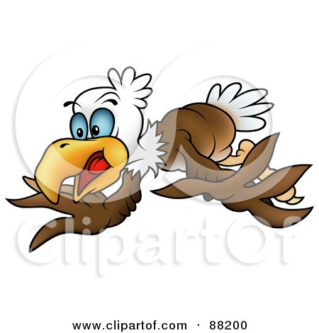 Royalty-Free (RF) Clipart Illustration of a Bald Eagle Flapping His Wings by dero