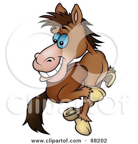 Royalty-Free (RF) Clipart Illustration of a Running Brown Horse Looking Back by dero