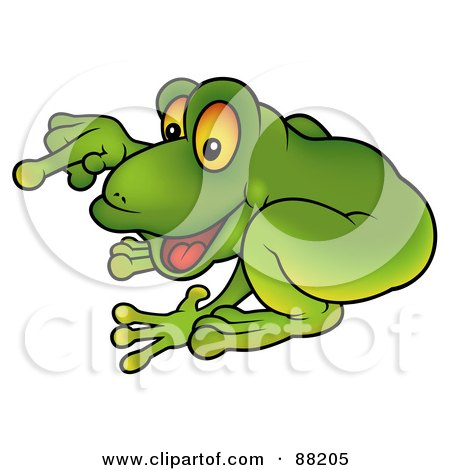Royalty-Free (RF) Clipart Illustration of a Green Frog Crouching And Pointing by dero