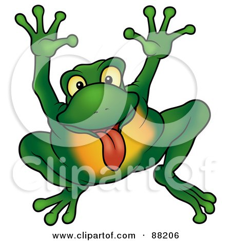 Royalty-Free (RF) Clipart Illustration of a Green Frog Holding His Arms Up And Sticking His Tongue Out by dero