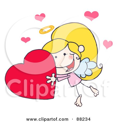 Royalty-Free (RF) Clipart Illustration of a Stick Cupid Girl Carrying A Red Heart by Hit Toon