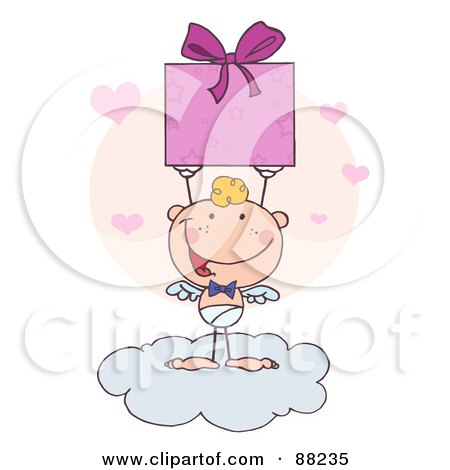 Royalty-Free (RF) Clipart Illustration of a Stick Cupid Standing On A Cloud And Holding Up A Present by Hit Toon