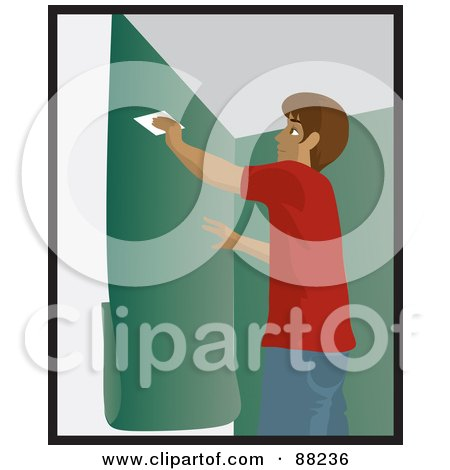 Royalty-Free (RF) Clipart Illustration of a Hispanic Man Using A Scraper To Smooth And Install Green Wallpaper by Rosie Piter
