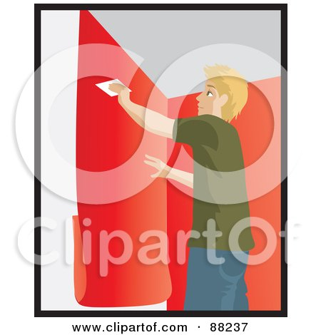 Royalty-Free (RF) Clipart Illustration of a Caucasian Man Using A Scraper To Smooth And Install Red Wallpaper by Rosie Piter