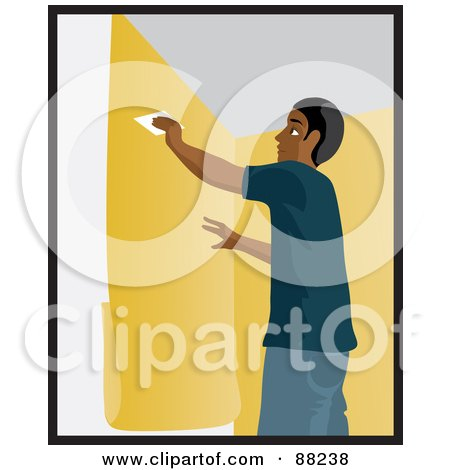 Royalty-Free (RF) Clipart Illustration of a Black Man Using A Scraper To Smooth And Install Yellow Wallpaper by Rosie Piter