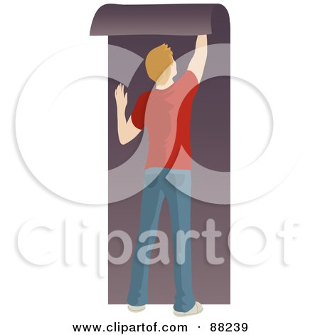 Royalty-Free (RF) Clipart Illustration of a Caucasian Man Hanging Purple Wallpaper by Rosie Piter