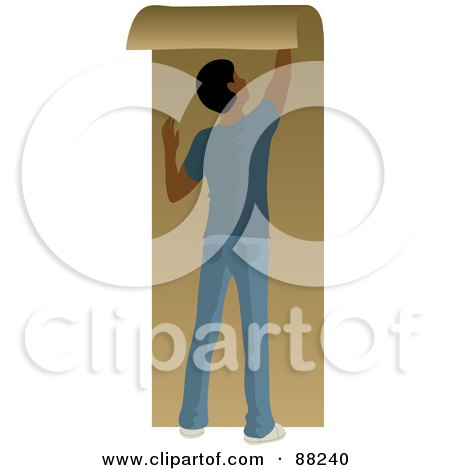 Royalty-Free (RF) Clipart Illustration of a Black Man Hanging Brown Wallpaper by Rosie Piter