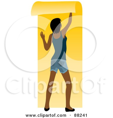 Royalty-Free (RF) Clipart Illustration of a Black Woman Hanging Yellow Wallpaper Over Her White Wall by Rosie Piter