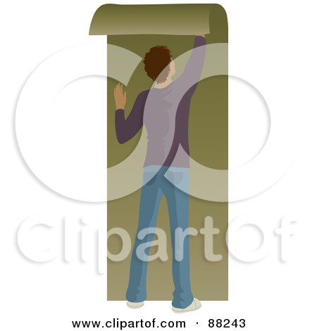 Royalty-Free (RF) Clipart Illustration of a Hispanic Man Hanging Green Wallpaper by Rosie Piter