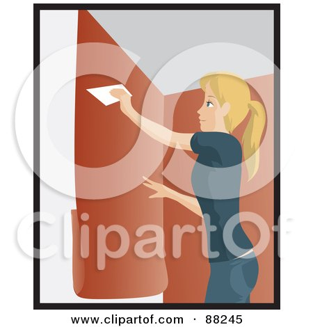 Royalty-Free (RF) Clipart Illustration of a Caucasian Woman Using A Scraper To Apply Orange Wallpaper To Her Wall by Rosie Piter