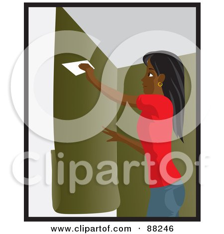 Royalty-Free (RF) Clipart Illustration of a Black Woman Using A Scraper To Apply Green Wallpaper To Her Wall by Rosie Piter