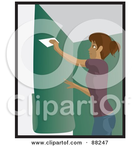 Royalty-Free (RF) Clipart Illustration of a Hispanic Woman Using A Scraper To Apply Green Wallpaper To Her Wall by Rosie Piter