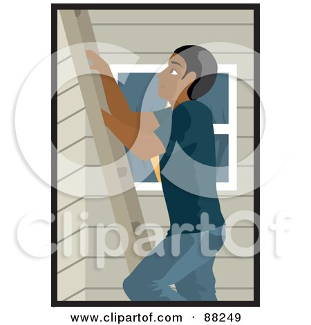 Royalty-Free (RF) Clipart Illustration of a Black Man Climbing A Ladder On The Side Of A House by Rosie Piter