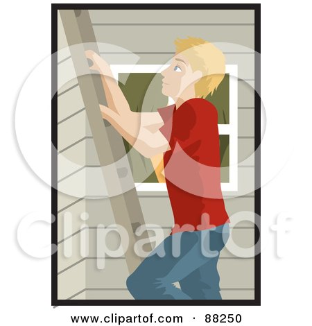 Royalty-Free (RF) Clipart Illustration of a Caucasian Man Climbing A Ladder On The Side Of A House by Rosie Piter