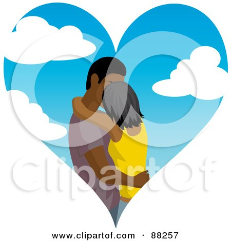 Indian Or Black Couple Kissing Inside Of A Cloudy Sky Heart Posters, Art Prints