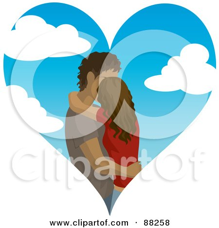 Royalty-Free (RF) Clipart Illustration of a Hispanic Couple Kissing Inside Of A Cloudy Sky Heart by Rosie Piter