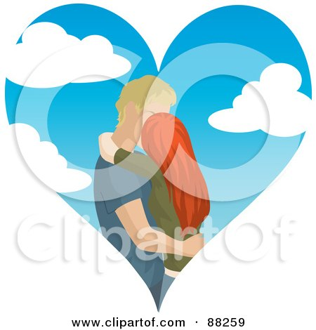 Royalty-Free (RF) Clipart Illustration of a Caucasian Couple Kissing Inside Of A Cloudy Sky Heart by Rosie Piter