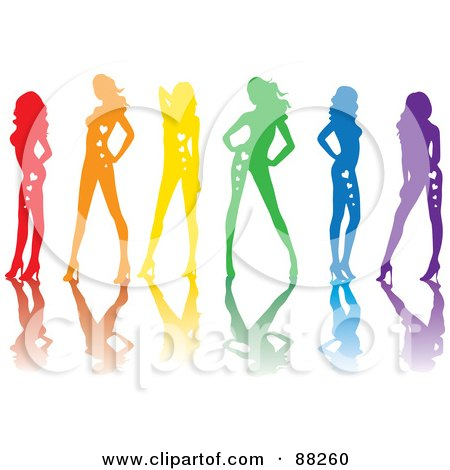 Royalty-Free (RF) Clipart Illustration of a Line Of Red, Orange, Yellow, Green, Blue And Purple Sexy Pinup Women With Hearts On Their Bodies And Reflections by Rosie Piter