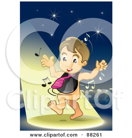 Royalty-Free (RF) Clipart Illustration of a Baby Boy Dancing In The Spotlight, Wearing A Bib And Tie by NoahsKnight