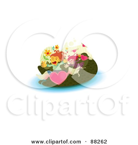 Royalty-Free (RF) Clipart Illustration of an Obsessed Girl Chasing A Boy Through Flowers And Flying Hearts by NoahsKnight