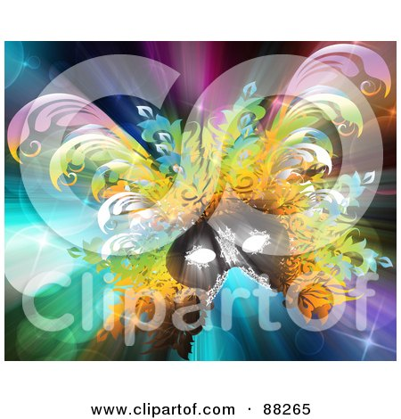 Royalty-Free (RF) Clipart Illustration of a Colorful Carnival Mask On A Shining Glittery Background by MacX