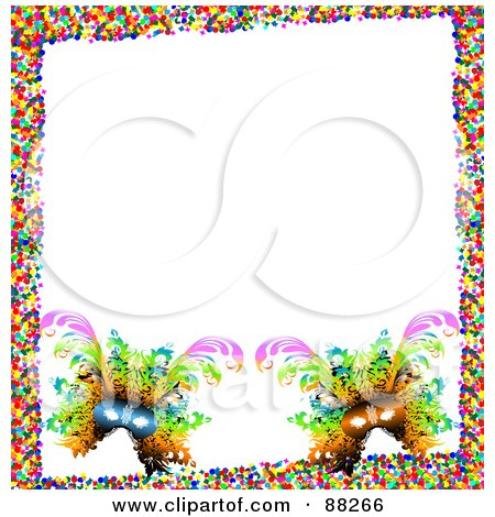 Royalty-Free (RF) Clipart Illustration of a White Background Bordered With Two Carnival Masks And Colorful Confetti by MacX