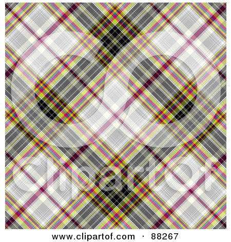 Royalty-Free (RF) Clipart Illustration of a Gray, Pink, Blue And Yellow Tartan Plaid Patterned Background by MacX