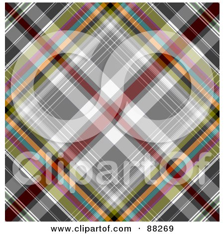 Royalty-Free (RF) Clipart Illustration of a Colorful Tartan Plaid Patterned Background by MacX