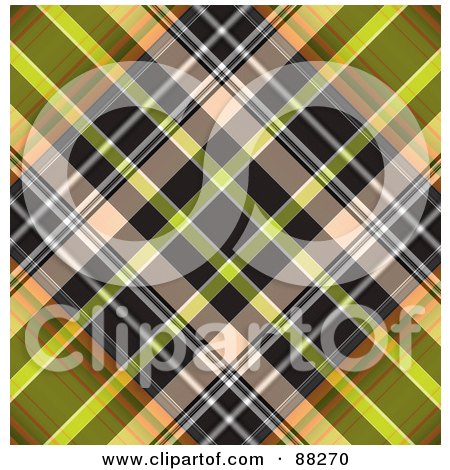 Royalty-Free (RF) Clipart Illustration of a Black And Green Tartan Plaid Patterned Background by MacX
