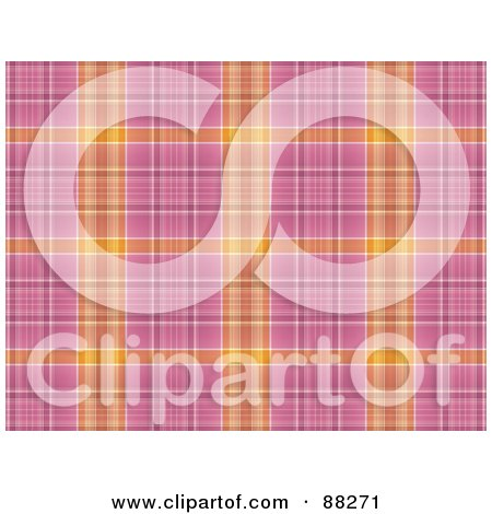 Royalty-Free (RF) Clipart Illustration of an Orange And Pink Plaid Patterned Background by MacX