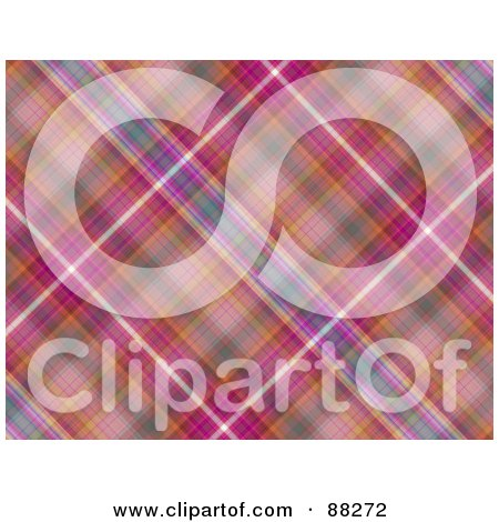 Royalty-Free (RF) Clipart Illustration of a Magenta And Pink Tartan Plaid Patterned Background by MacX