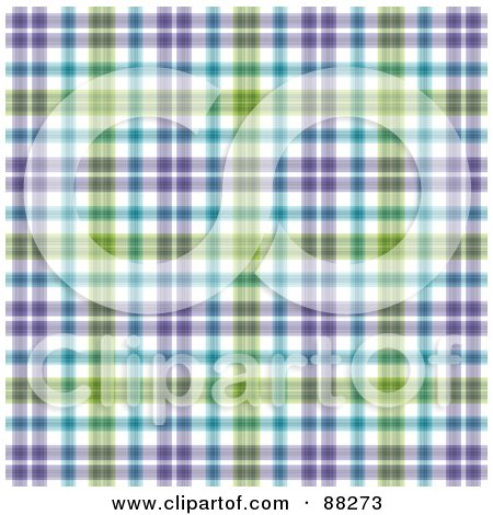 Royalty-Free (RF) Clipart Illustration of a Blue, Purple And Green Plaid Patterned Background by MacX