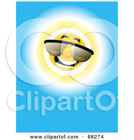 Royalty-Free (RF) Clipart Illustration of a Cool Summer Sun Wearing Shades In A Blue Sky by MacX