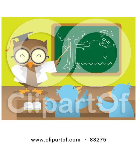 Royalty-Free (RF) Clipart Illustration of a Professor Owl Teaching Chicks And Pointing To A Chalk Board by Qiun