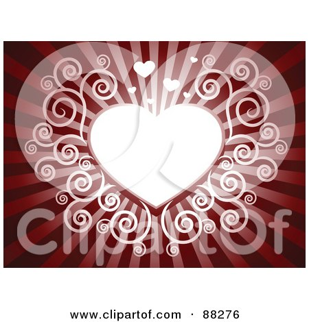 Royalty-Free (RF) Clipart Illustration of a White Swirl Heart On A Deep Red Shining Background by Qiun