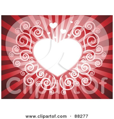 White Swirl Heart On A Red Shining Background Posters, Art Prints