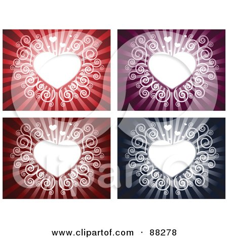 Royalty-Free (RF) Clipart Illustration of a Digital Collage Of White Swirly Hearts On Red, Purple, Maroon And Blue Backgrounds by Qiun