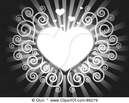 Royalty-Free (RF) Clipart Illustration of a White Swirl Heart On A Blue Shining Background by Qiun