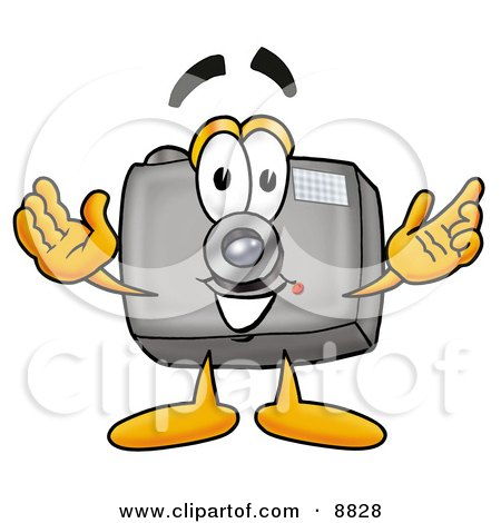 Clipart Picture of a Camera Mascot Cartoon Character With Welcoming Open Arms by Toons4Biz