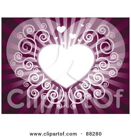 Royalty-Free (RF) Clipart Illustration of a White Swirl Heart On A Purple Shining Background by Qiun
