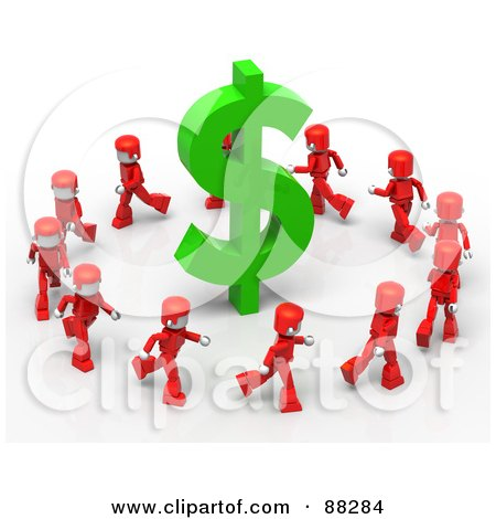 Royalty-Free (RF) Clipart Illustration of 3d Red Mini People Running Around A Green Dollar Symbol by Tonis Pan