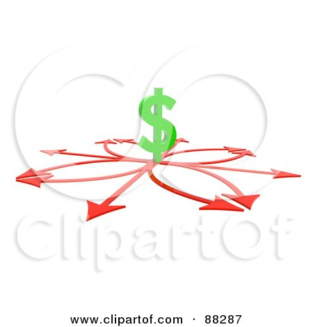 Royalty-Free (RF) Clipart Illustration of a 3d Dollar Symbol On Arrow Crossroads by Tonis Pan
