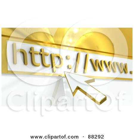 Royalty-Free (RF) Clipart Illustration of a 3d White And Gold Arrow Pointing To A Website Address Bar by Tonis Pan