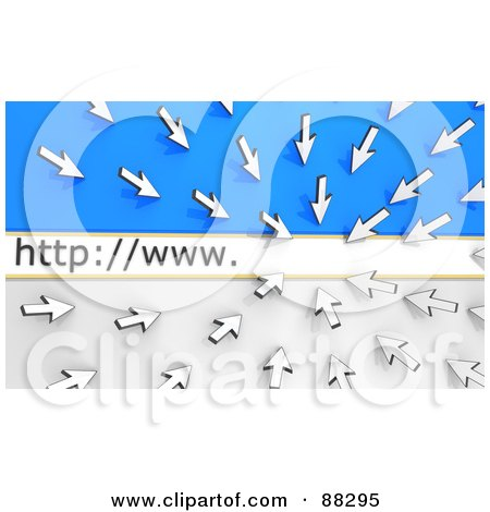 Royalty-Free (RF) Clipart Illustration of 3d White Arrow Cursors Pointing To A Website Address Bar, Over Blue And White by Tonis Pan