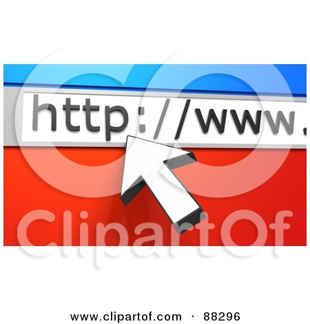Royalty-Free (RF) Clipart Illustration of a 3d White Arrow Cursor Pointing To A URL Bar Over Blue And Red by Tonis Pan