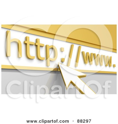 Royalty-Free (RF) Clipart Illustration of a 3d Cursor Arrow Pointing To A Golden Website Address Bar by Tonis Pan